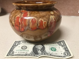 1984 Cherokee Nation CHEROKEE POTTERY Drip Glaze Pot/Handled Bowl Marke... - $19.95