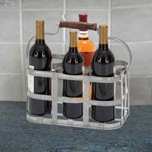 Metal Strip Wine Holder With Wooden Handle And Six Bottles Storage, Gray - €24,06 EUR