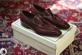 Handmade Men's Genuine Brown Leather Loafers Slip On Tassels Formal Shoes - $144.99