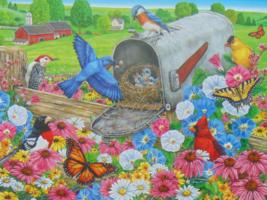PUZZLE..JIGSAW..BITTNER..Bluebirds Nesting In The Mailbox.300 Piece.. Se... - $14.99