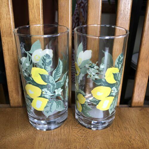 Royal Norfolk Glasses LEMONS Tumblers Juice Iced Tea Glasses 16 Oz Set Of 2 NWT - $7.92