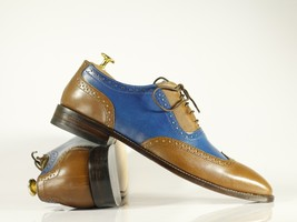 Handmade Brown & Blue Leather Wing Tip Dress/Formal Oxford Shoes image 2