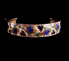 Antique bangle / Vintage GUILLOCHE enamel bracelet / bird cuff / chinese tourist - $75.00