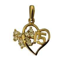 14K Real Yellow Gold Sweet 15 Anos Quinceanera Heart Cubic Zirconia Smal... - $77.70