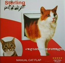 Cat Flap Small Dog Pet door 4 way locking System Magnetic White Frame - $10.98