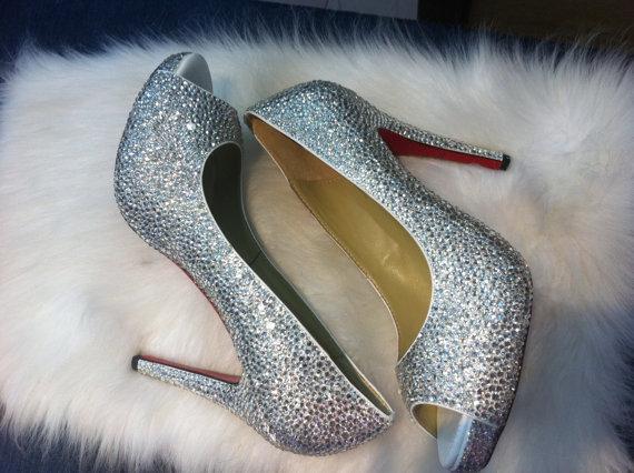 Silver Crystal Heels Red Bottom 4 inch Peep Toe/ Open Toed Heels Wedding Bridal