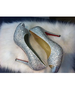 Silver Crystal Heels Red Bottom 4 inch Peep Toe/ Open Toed Heels Wedding... - $125.00
