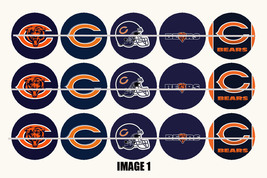 Printed Precut CHICAGO BEARS inspired 1 inch images for bottlecaps, crafts - $2.00