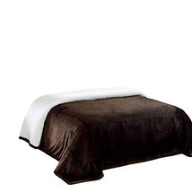 Chezmoi Collection Micromink Sherpa Reversible Throw Blanket King, Chocolate
