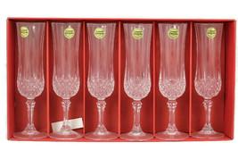 Vintage Cristal D Arques Set of 6 Flutes Champagne Crystal Glasses - $52.46