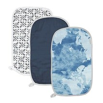 """An item in the Baby category: Burp cloths organic cotton blue white boy girl feeding shower gift 19"""" x 11"""