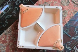Vintage California # L90 Beige/Orange/Gold Lazy Susan Lidded Serving Set... - $44.99