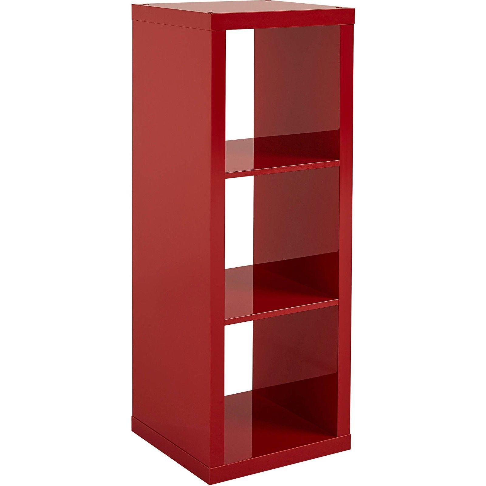 Better Homes and Gardens Furniture 3-Cube Organizer Storage Bookcase Red Gloss