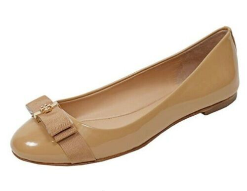 Tory Burch Trudy Gold Logo-Bow Beige Patent Ballet Flat Sz 6 - $44.55