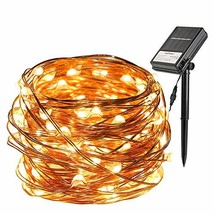 Battery and Solar String Lights 33ft 100 Led Outdoor String Lights Water... - $13.11