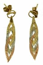 Vintage 14K Tri Gold Mesh Flat Snake Braid Chain Post Dangle Earrings 19... - $224.99