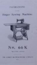 Singer 66K Sewing Machine Instruction Manual - $9.99