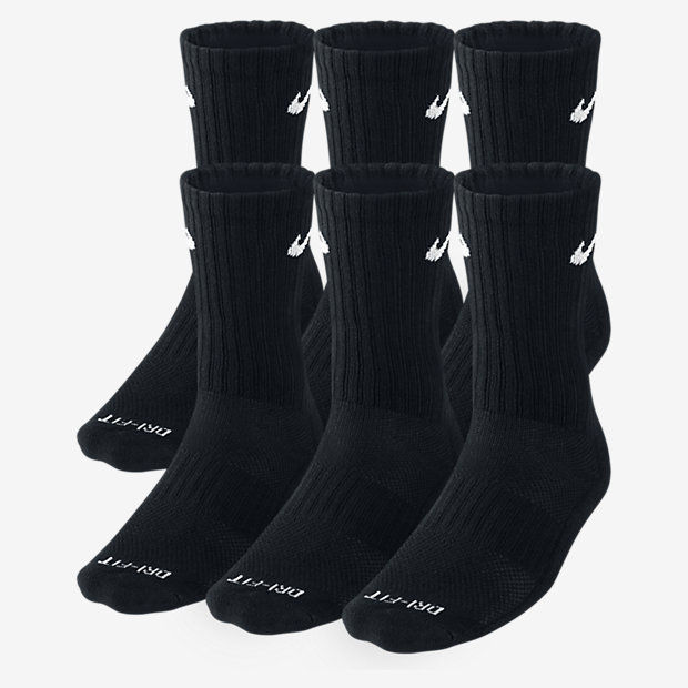 New Nike Men's Dri Fit Cotton Crew Socks 6 Pair M 6-8 Tennis Running SX4446