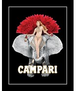Campari Apertiff Liquor Poster, Sexy Bar Wall Art, Burlesque Elephant Wa... - $19.99+