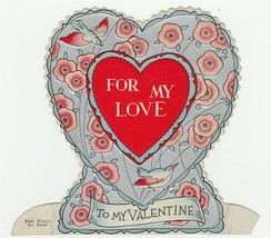 Vintage Valentine Card Blue Birds Pink Flowers Silver Trim Heart 1920's - $9.89