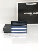 NWT Michael Kors Men's Grant Tall Card Case Wallet PVC Leather Blue Stri... - $28.01