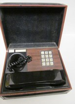 Decotel Personal Executive Telephone Brown Wood Grain Black Faux Leather... - $59.95