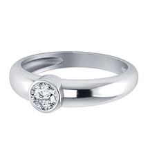 Round Cut Diamond 14k White Gold Plated Pure 925 Sterling Silver Solitaire Ring - $55.00
