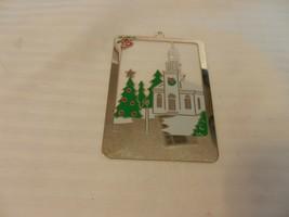 Duchin Holiday Church Scene 1988 Flat Gold Tone Metal Ornament Rectangle... - $14.85