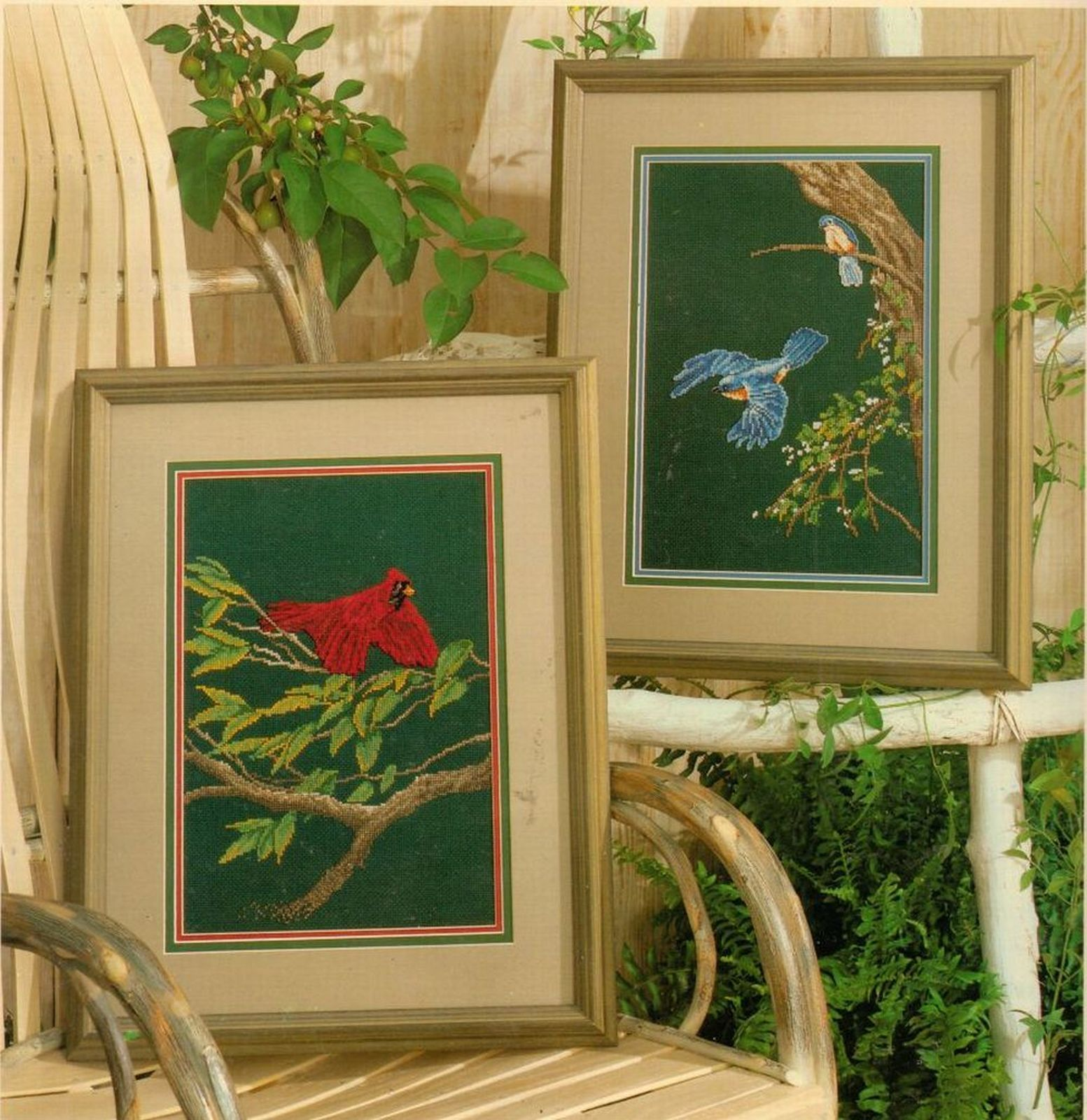 Primary image for Cross Stitch Color Charts Blue Jay Cardinal Flying Birds Larry Martin Pattern