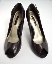 Pumps Heels Open Toe Nine West 7.5 M Brown Leather Comfort Shoes - Hardly Worn! - $8.25