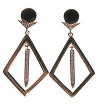 Edison 14K Yellow Gold Plated Kite Cubic Zirconia Crystal Black Stone Earrings