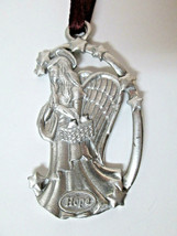 Longaberger Hope Angel Pewter Metal Christmas Tree Ornament EUC Lovely! - $7.00