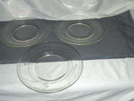 "3 Vintage Fostoria Crystal Glass Pine 8"" Luncheon Snack Plates NICE - $64.35"
