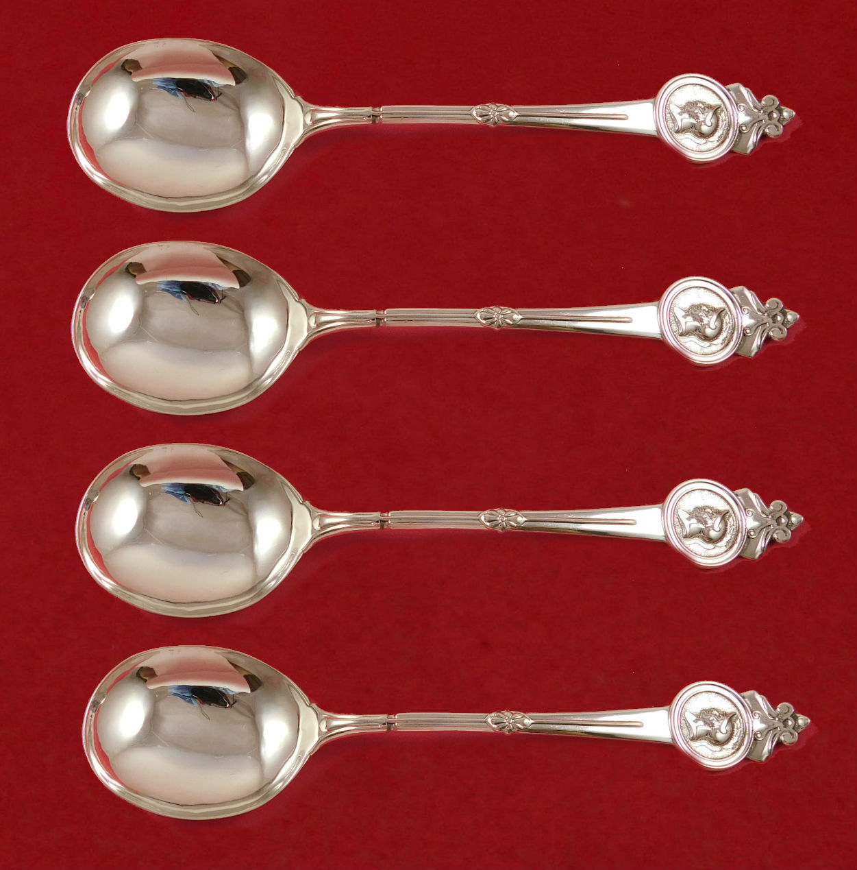 Primary image for Medallion by Gorham Sterling Silver Gumbo Spoon 4-piece Set 8""