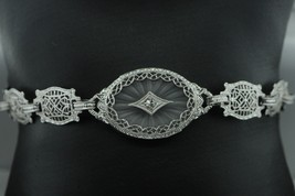 "Vintage (ca. 1930) 10K White Gold Diamond & Etched Glass Bracelet (6 3/4"") - $440.00"