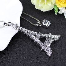 Chain 2017 New Colorful Crystal Eiffel Tower Building necklace Lock Pendant Allo image 4