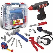 Durable Kids Tool Set with Electronic Cordless Drill and 18 Pretend Play - $37.43