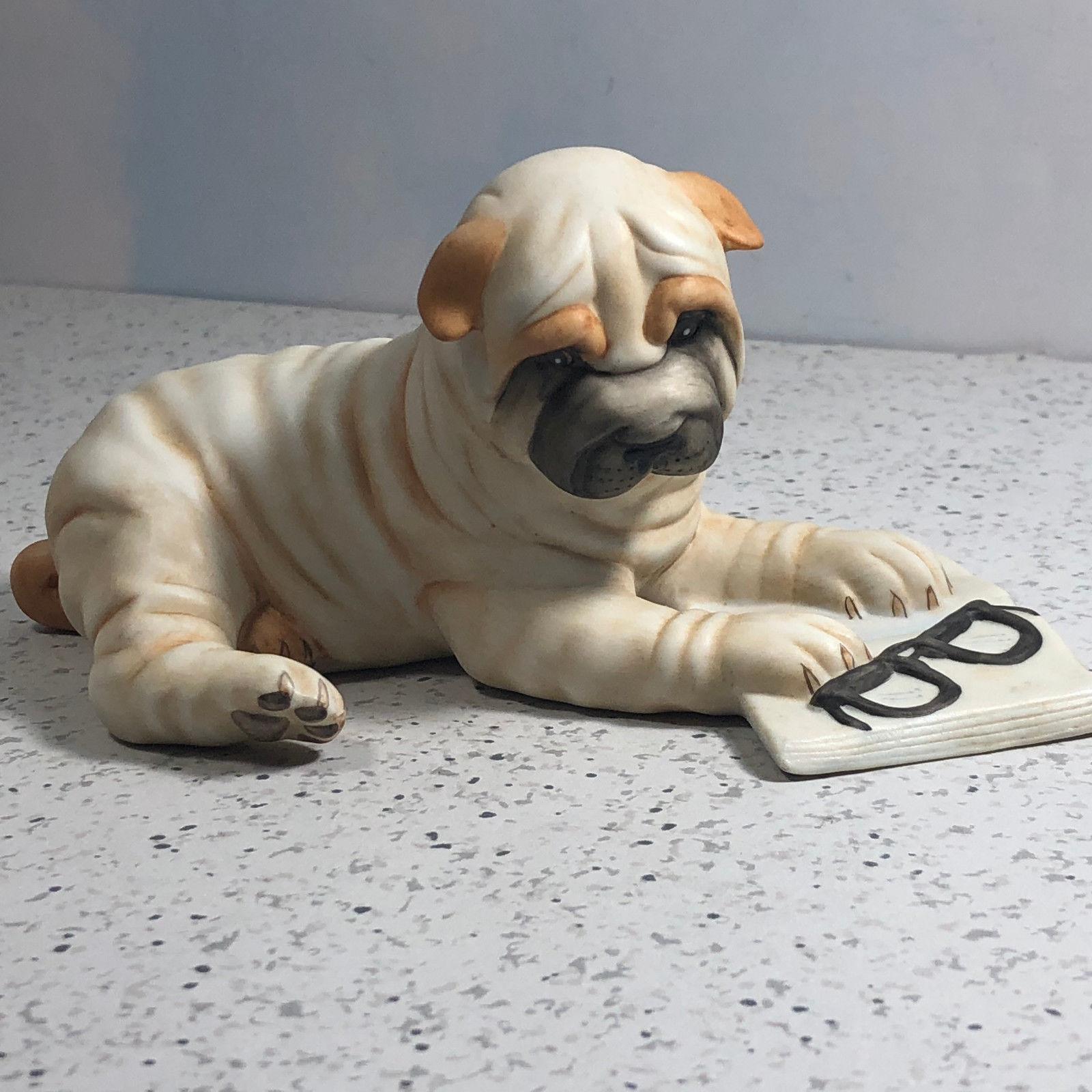 SHAR PEI brown puppy TiNY FIGURINE Dog MINIATURE Small Mini Resin SHARPEI Statue