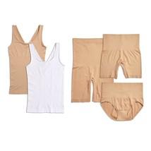 Yummie Seamless Wardrobe Essentials 5-piece in White/Almond, 1X/2X (607701) - $44.54