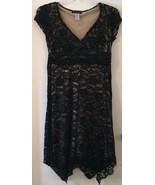 Volume One Black Lace Overlay Dress Size Large V Neck Empire Tie Cap Sle... - $24.95