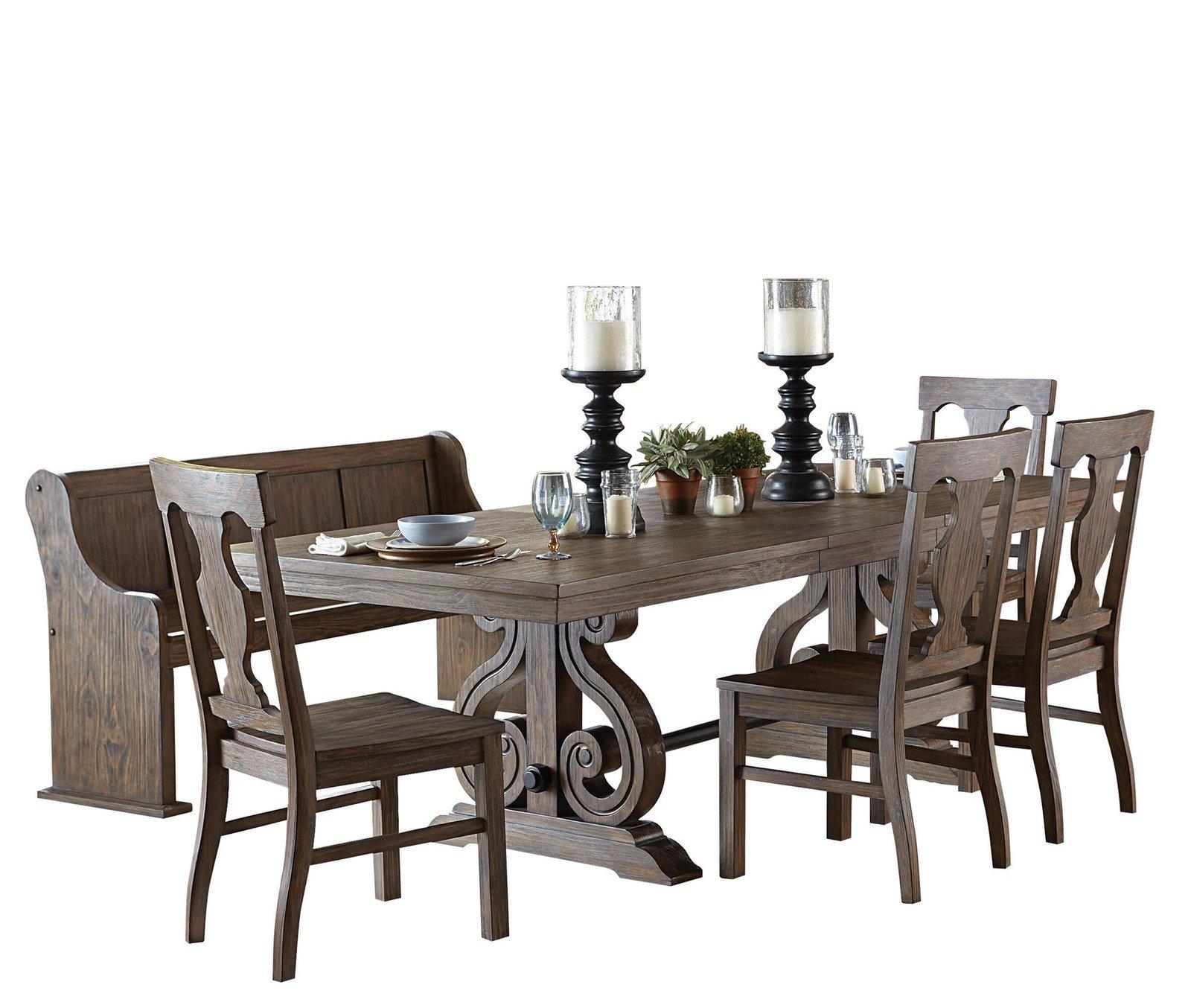 Thiara French Farmhouse 6PC Dining Set Trestle Table, 4