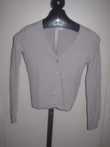 LIZ CLAIBORNE LADIES GRAY CARDIGAN SWEATER-PS-100% COTTON-RAISED WOVEN P... - $5.99