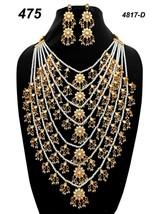 Indian Ethnic Kundan Jadau GoldPlated Necklace Earring Jewelry long haar set 02 - $39.59