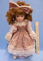 """17"""" Porcelain Doll w/ Red Hair & Stand Country Dress w/ Lace Blue Eyes w... - $13.85"""