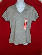 Jerzees Women's Gray open collar Polo shirt - $3.75