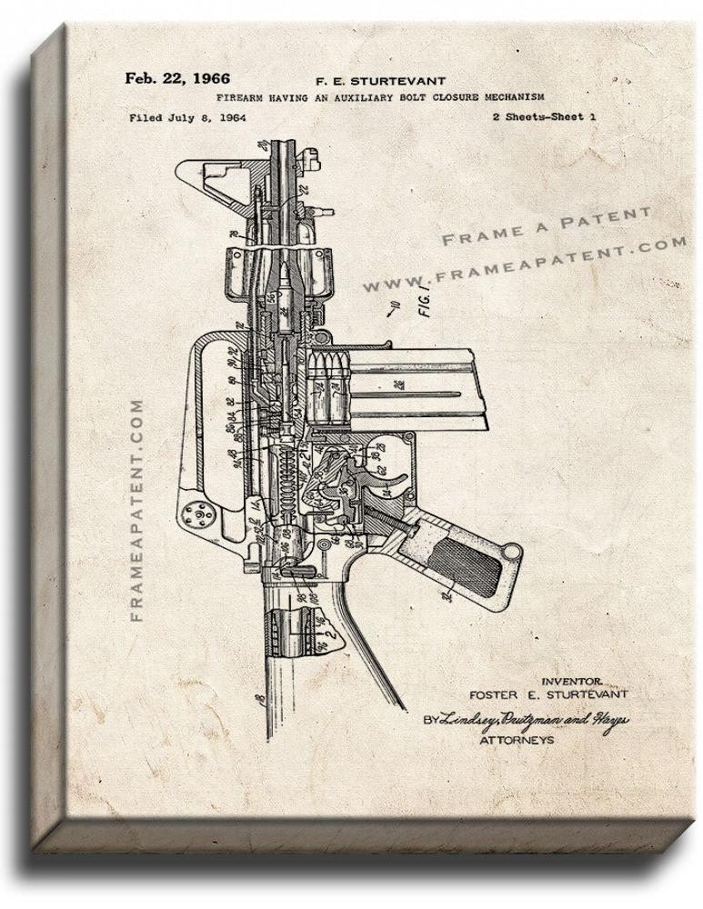Primary image for Colt AR-15 Semi-Automatic Rifle Patent Print Old Look on Canvas