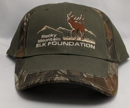 Camo/Green Rocky Mountain Elk Foundation Cap Hat with Logo NWOT - $14.97