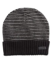 NEW KENNETH COLE REACTION BLACK GRAY FLEECE LINED STRIPE CUFF BEANIE WIN... - $7.91