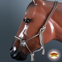 Western Horse Halter Adjustable Poly Tied Rope Brown White U-H149 - $19.79