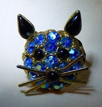 Vintage 1960s-70s Kitty Cat Face RING Blue Aurora Borealis Stones Whiskers - $35.00